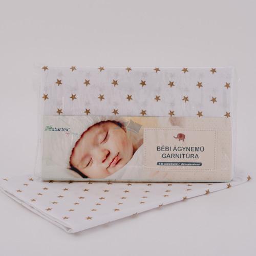 Naturtex Baby ágyneműhuzat 70x90+40x30 cm / barna star